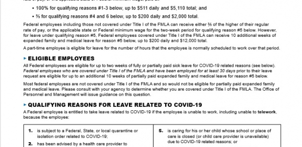FEDERAL EMPLOYEE RIGHTS PAID SICK LEAVE AND EXPANDED FAMILY AND MEDICAL LEAVE UNDER THE FAMILIES FIRST CORONAVIRUS RESPONSE ACT